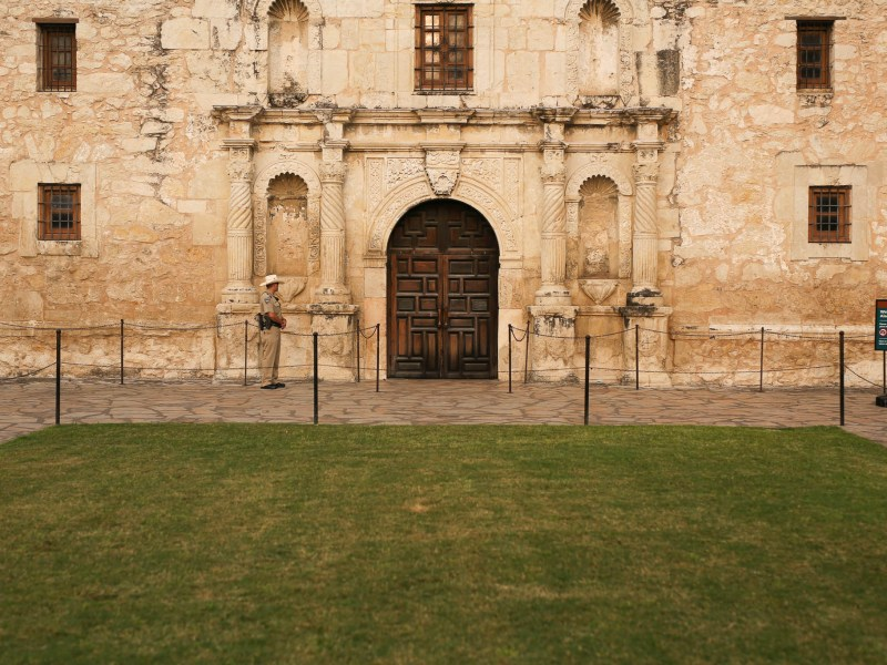 The lawn in front of the Alamo