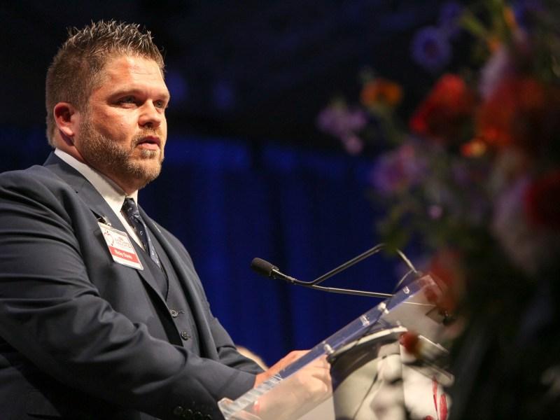 Schertz Elementary kindergarten teacher Ricky Davis gives his acceptance speech after wining the 'Rising Star Elementary' award.