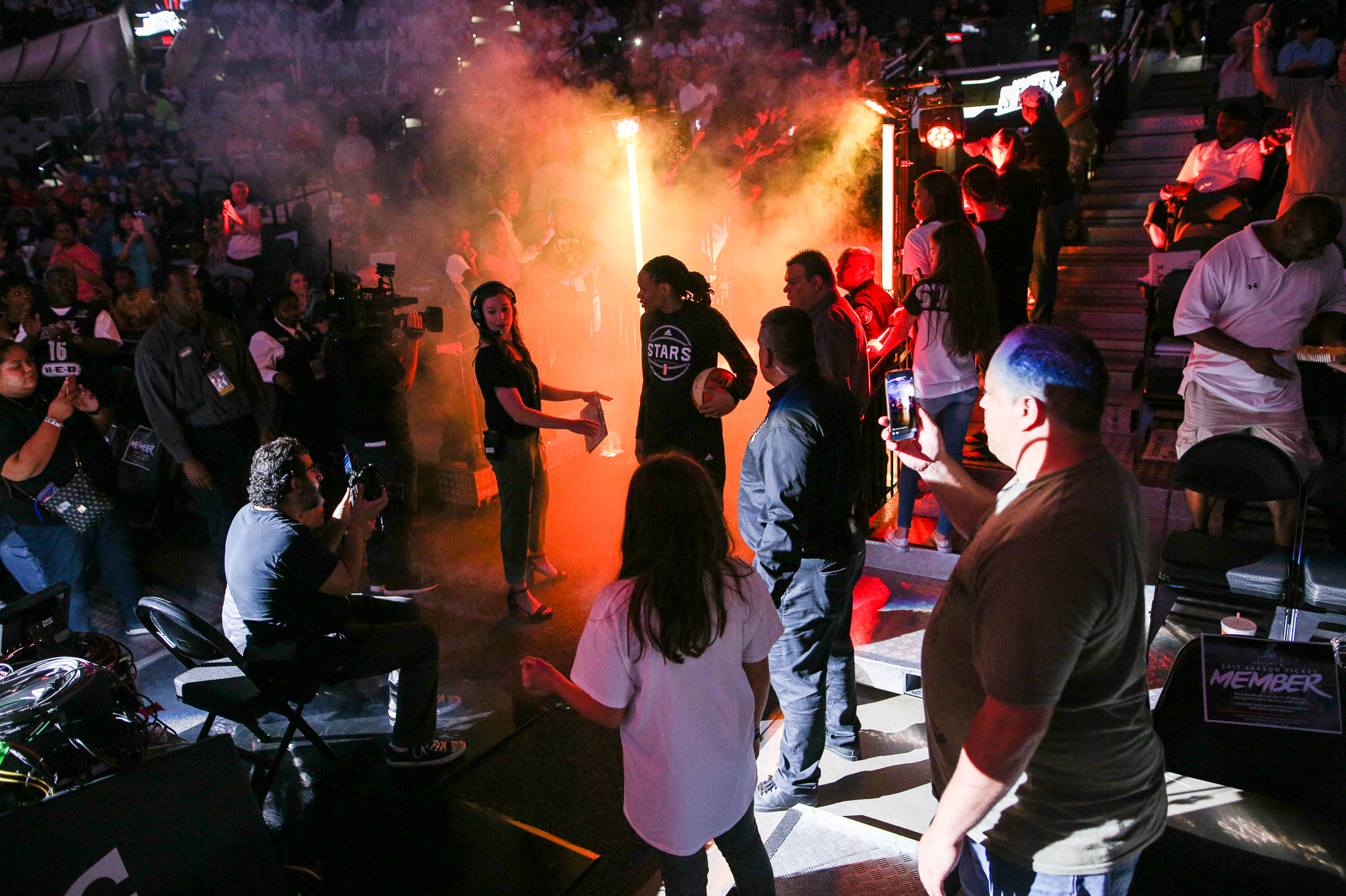 The San Antonio Stars are introduced during the season home opener at the AT&T Center against the Phoenix Mercury.