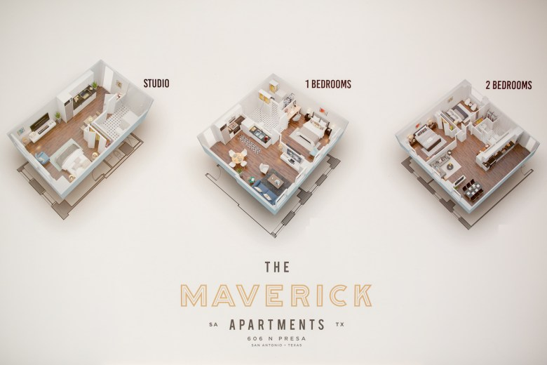 3D renderings of the available floor plans at the Maverick Apartments.