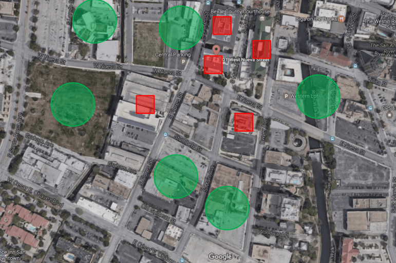 The red squares in the above image mark County-owned downtown properties, and the green circles show planned downtown redevelopment projects.