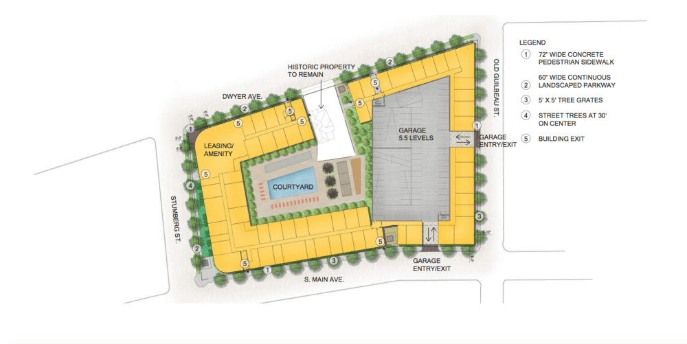 This site plan of Heritage Plaza shows a courtyard and garage on the property.