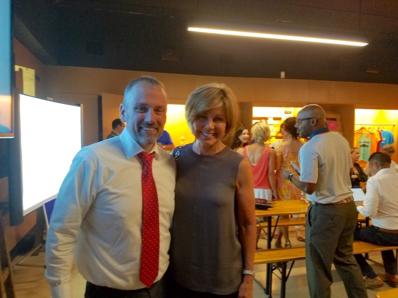 OneSA campaign manager Christian Archer (left) and City Manager Sheryl Sculley at the OneSA bond election watch party.OneSA campaign manager Christian Archer (left) and City Manager Sheryl Sculley at the OneSA bond election watch party.