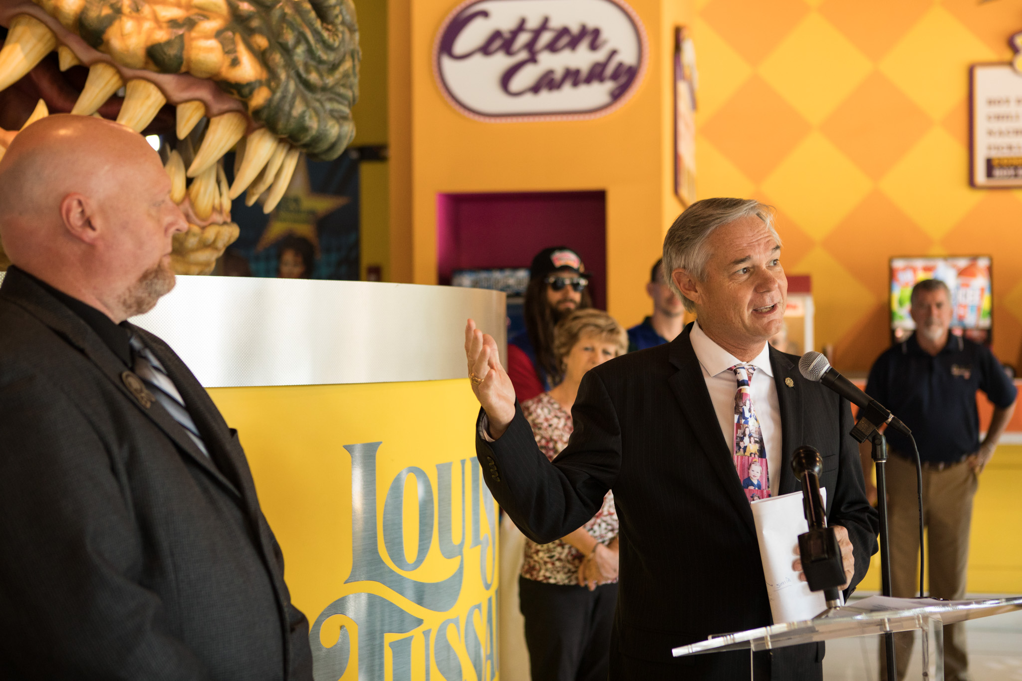 Councilman Clayton Perry (D10) speaks at the 30th Anniversary Celebration of Louis Tussaud's Waxworks.