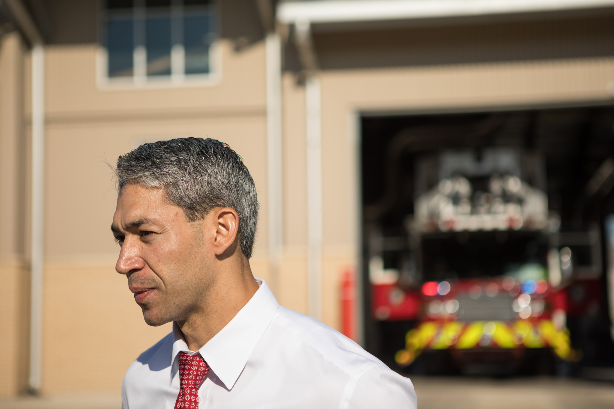 Mayor-elect Ron Nirenberg walks outside of Fire Station 1 after eating breakfast with the firemen.