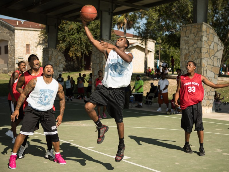 A basketball tournament is held for the Stand Up SA peace initiative in Lockwood Park.
