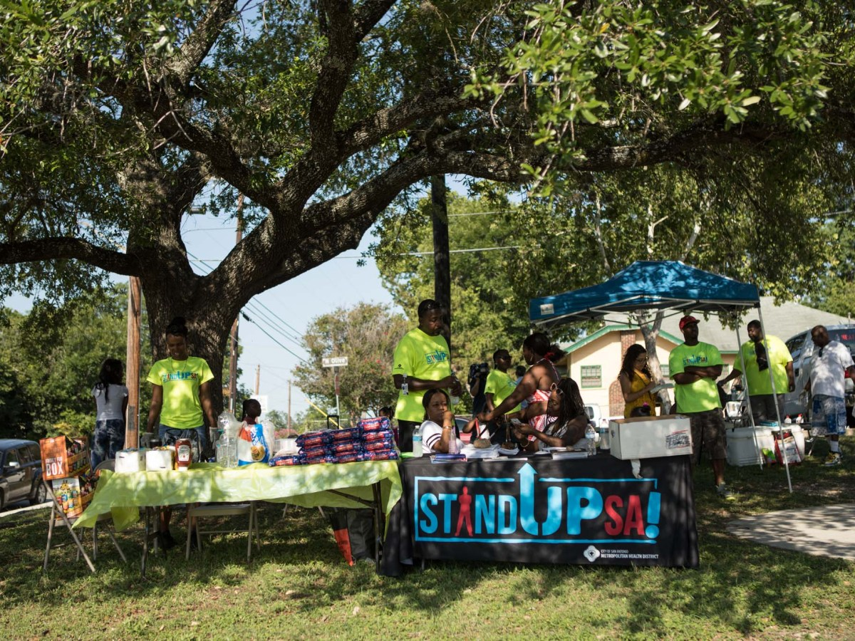 Representatives for the Stand Up SA peace initiative set up a booth in Lockwood Park.