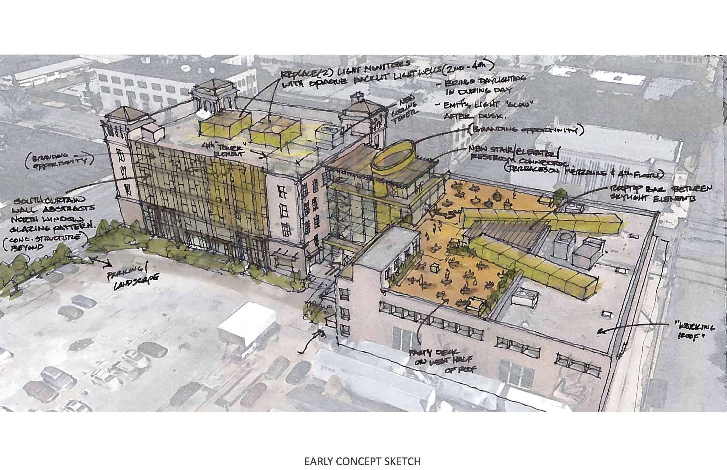 This preliminary sketch of the project at 420 Broadway St. depicted a glass connector between the Light and Print buildings. Current renderings show this connector as solid with a few windows.