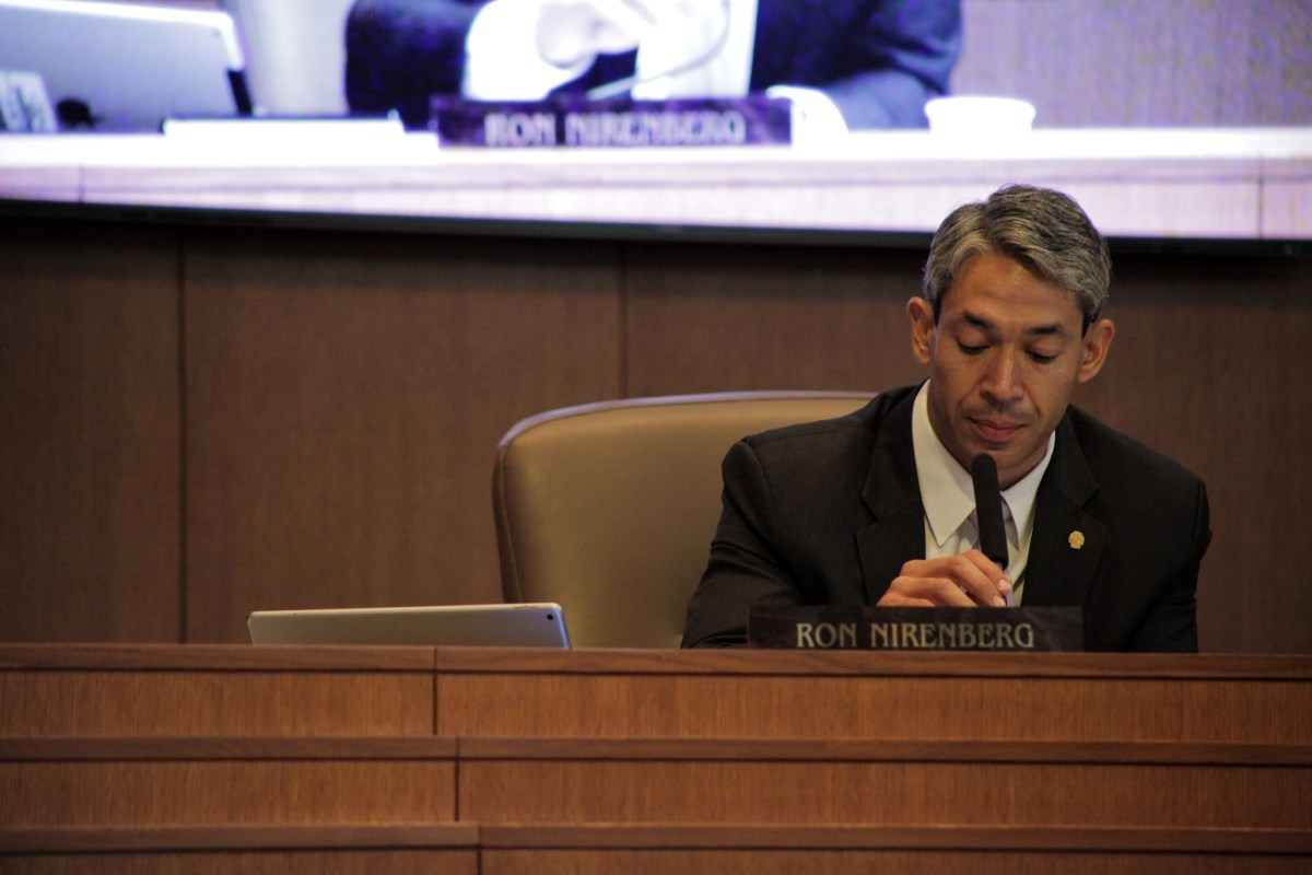 Mayor elect Ron Nirenberg speaks at mayor Ivy Taylor's final city council meeting.