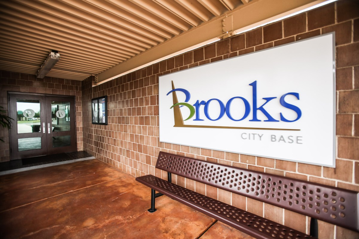 """Outside Brooks City Base the logo is not yet updated to be simply """"Brooks."""""""