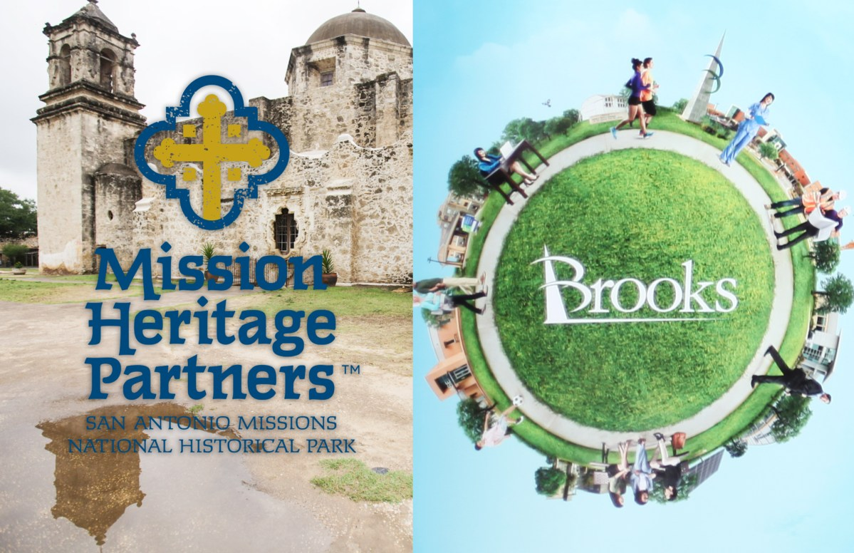 San Antonio Missions National Historical Park (left) and Brooks City Base (right) announce their new names and logos.