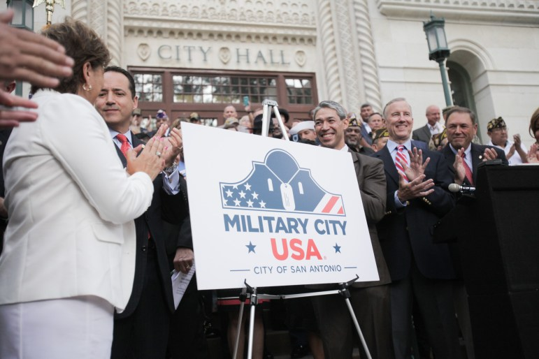 City and state representatives unveil San Antonio's official Military City USA trademark.