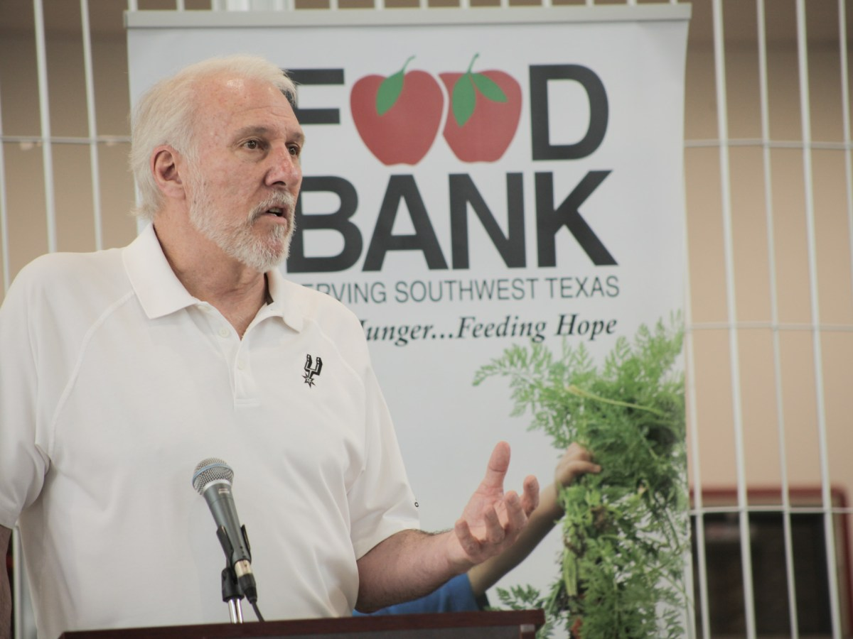 San Antonio Spurs coach Greg Popovick discusses the importance of community involvement at the Food Bank this summer.