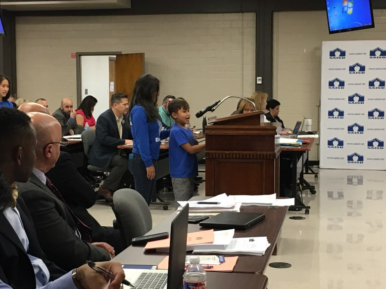 Stewart Elementary third-grader Joshua Ybarra addresses the SAISD Board of Trustees regarding Principal Traci Smith.