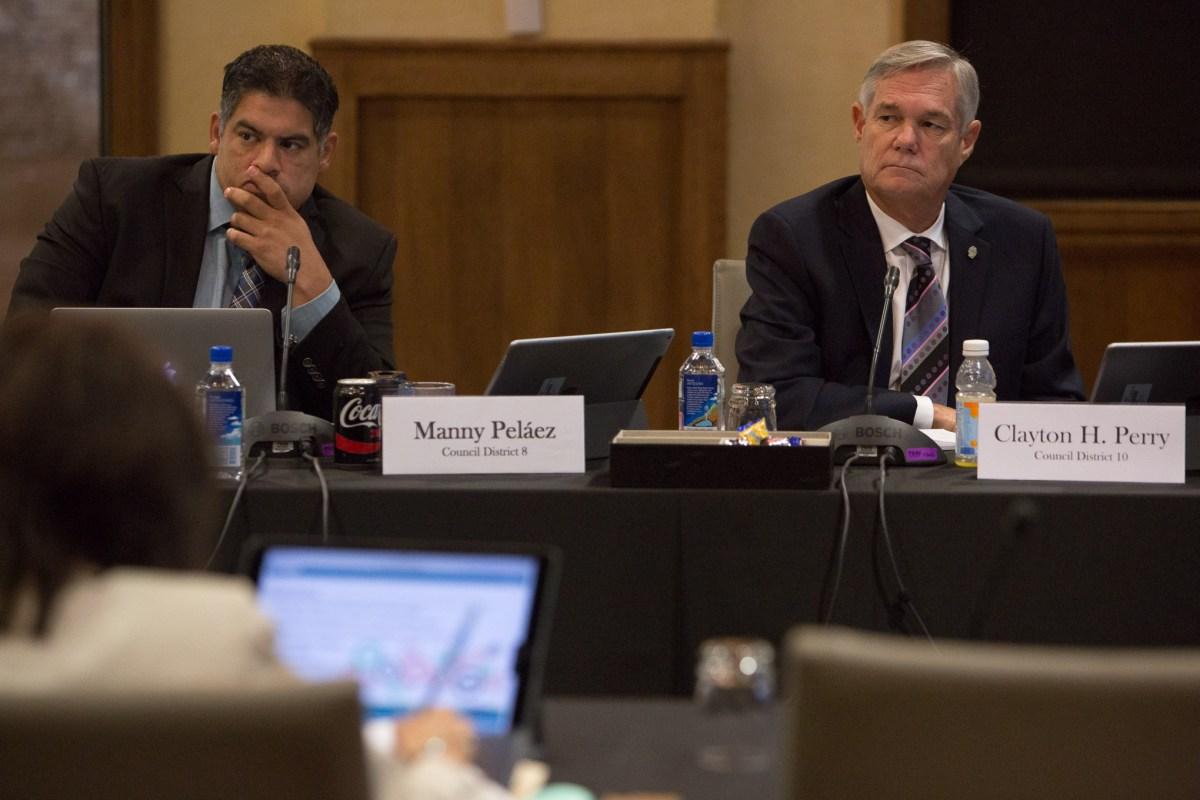 Councilmen (left) Manny Peláez (D8) and Clayton Perry (D10).