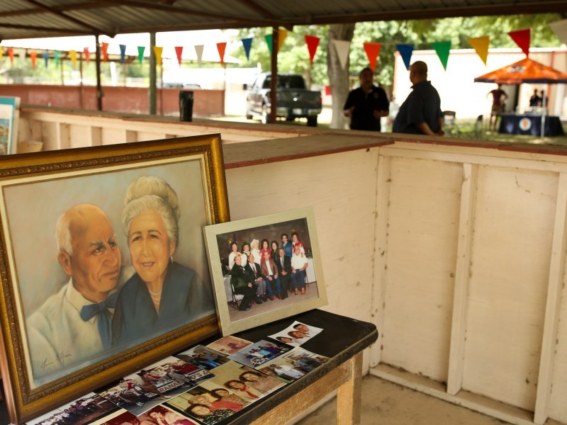A painting of family members from the De Leon family sits in a booth at Harvest Fest in Von Ormy Texas.
