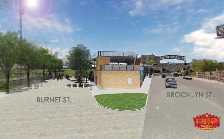 This rendering shows the backside of the Brooklyn StrEat Food Park.