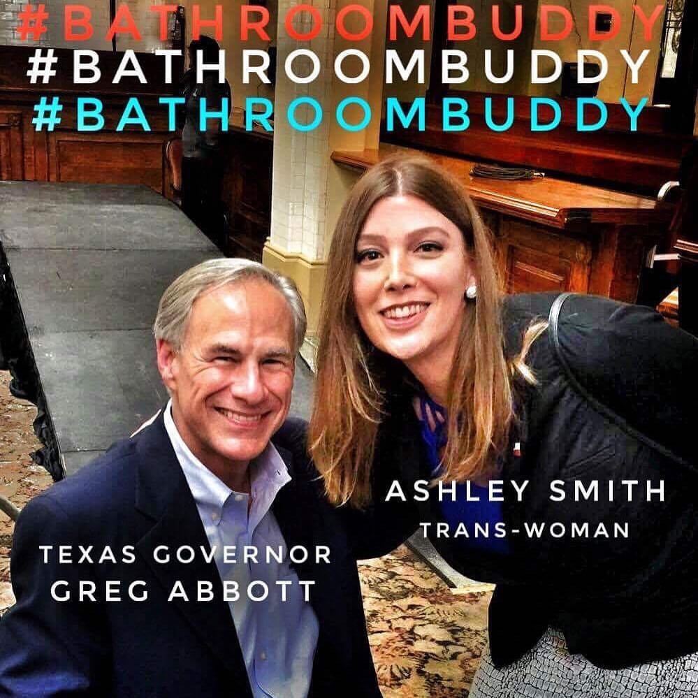 """Ashley Smith's selfie with Gov. Greg Abbott, a proponent of the """"bathroom bill,"""" went viral."""