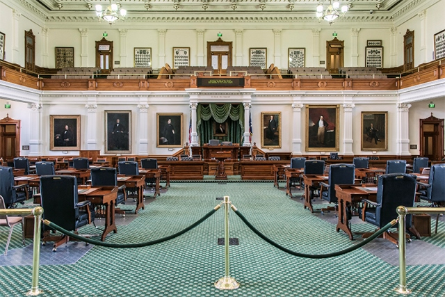 The Senate Chamber in the capitol building in Austin will be the site of a special legislative session in July.