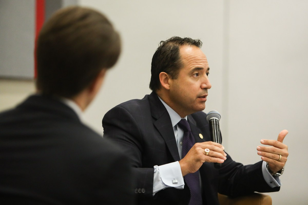 "State Senator José Menéndez (D26) speaks at a press conference titled ""Bottom Line: Business Beyond Bathrooms"" at the Henry B. Gonzalez Convention Center."