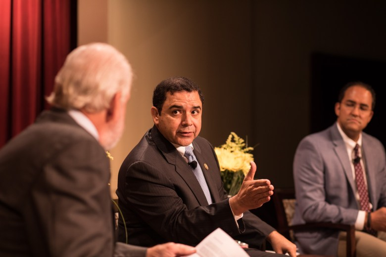 Congressman Henry Cuellar (D-Texas) speaks in a conversation regarding NAFTA and trade policy at the Pearl Stables.