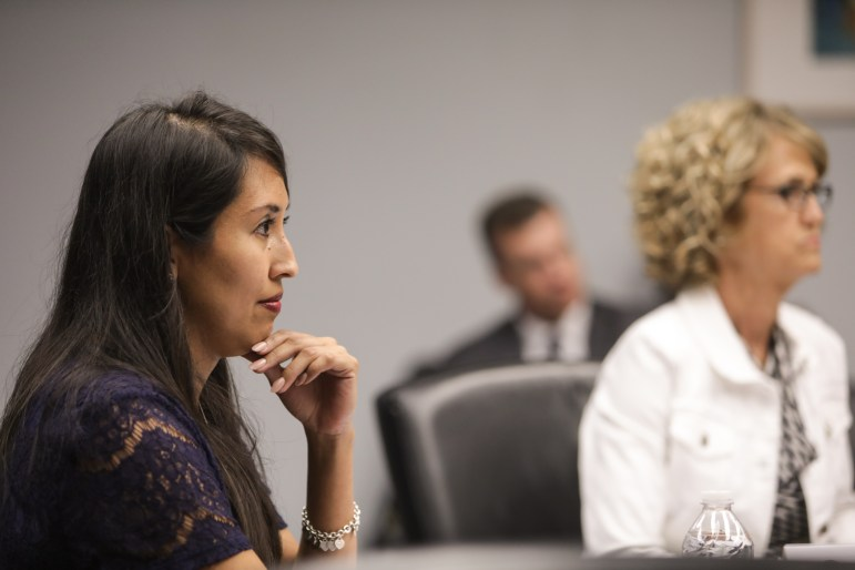 Ethics Review Board Member Chair Adriana Garcia leads an Ethics Review Board meeting on July 11 in City Hall.