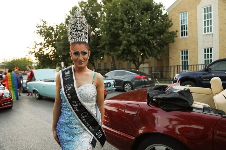 Miss Gay Universe 2017 Sasha Taylor prepares for the PRIDE Bigger Than Texas Parade.