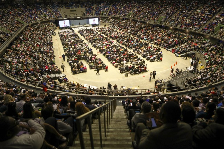 A large crowd gathers in the Freeman Coliseum for the 2017 Convention of Jehovah's Witnesses.