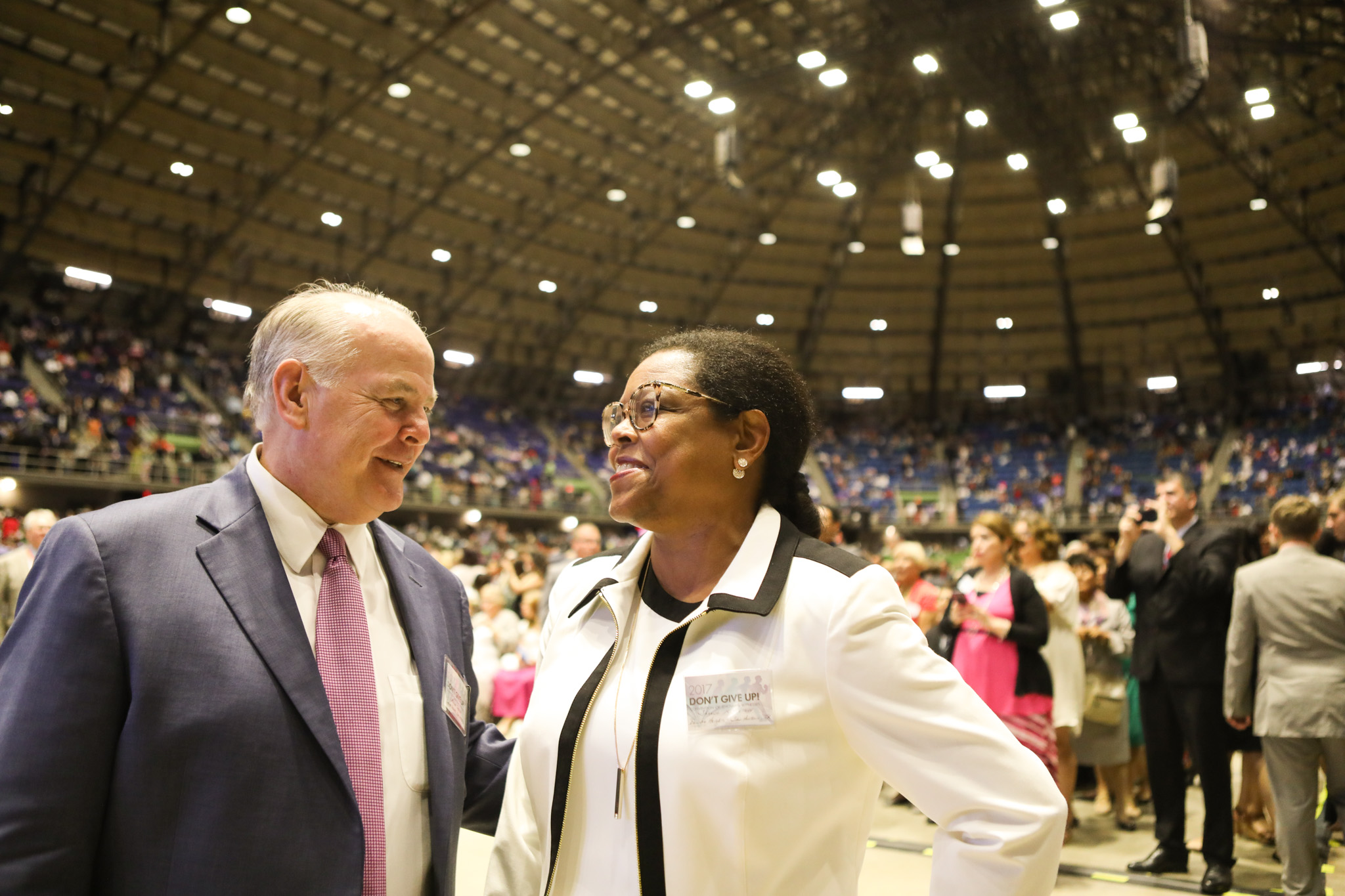 (From left) Michael Detroy and Sheena Detroy smile at one another during the 2017 convention of Jehovah's Witnesses in the Freeman Coliseum.