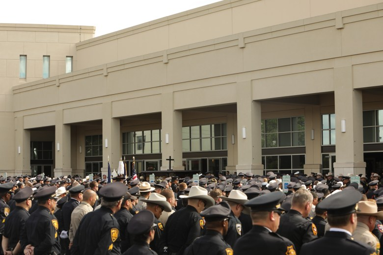 Hundreds of police officers gather to honor the life of deceased SAPD officer Miguel Moreno.