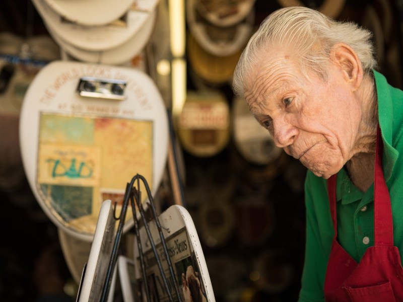 Barney Smith explains the origins of his collection at Barney Smith's Toilet Seat Art Museum.