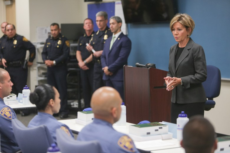 City Manager Sheryl Sculley addresses the San Antonio police cadets during their first day of training.