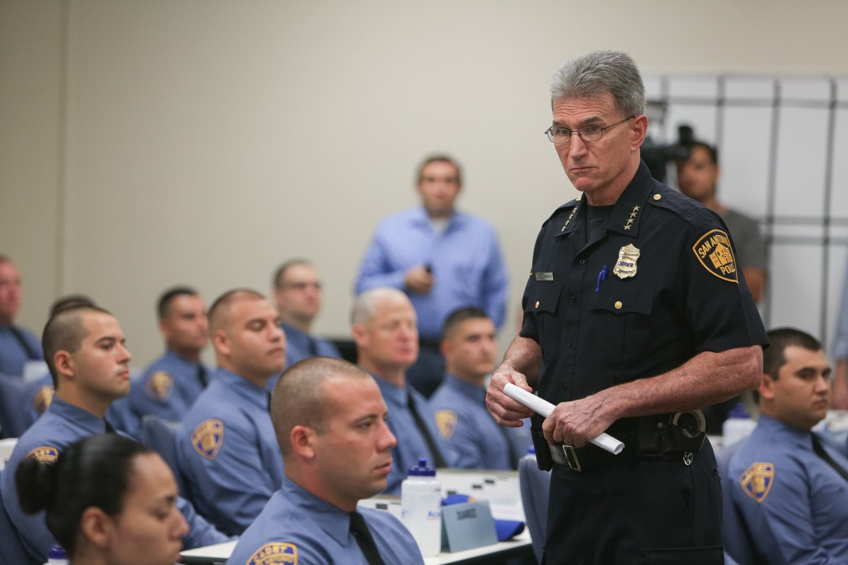 San Antonio Police Chief William McManus gives cadets a talk on the reasons behind joining the department.