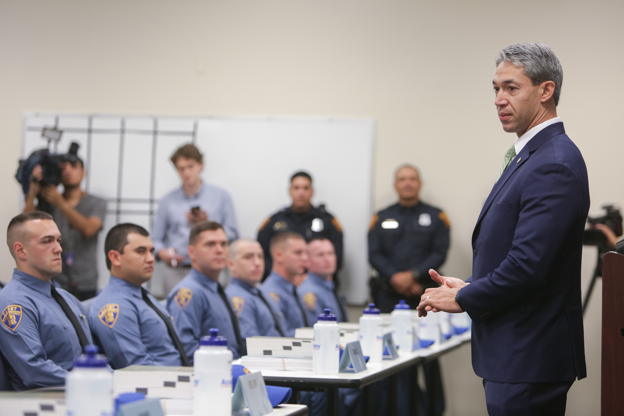 Mayor Ron Nirenberg addresses the newest San Antonio Police Department cadets on their first day of training.