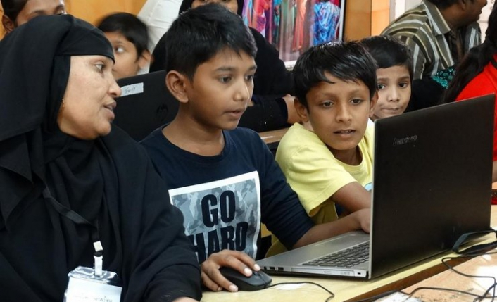 Minecraft is popular with children, who pick up the game easily and were essential to keeping the adults engaged in the workshop.