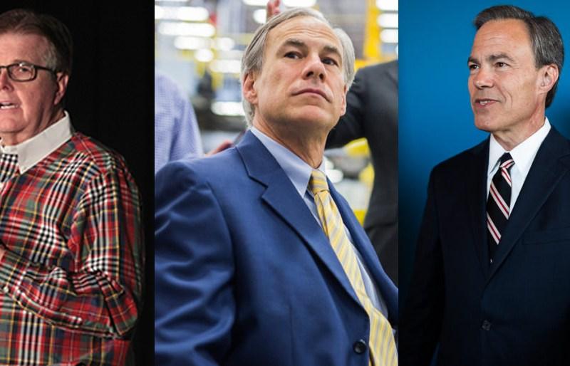 (From left) Lt. Gov. Dan Patrick, Gov. Greg Abbott and House Speaker Joe Straus.