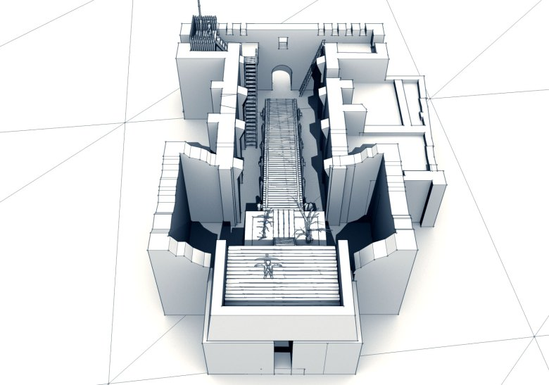 An initial 3D rendering of the Alamo church shows top view from the rear.