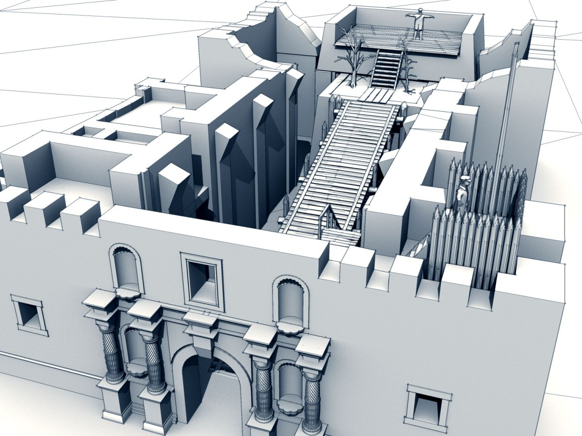 Initial 3D rendering of the Alamo church front, top view