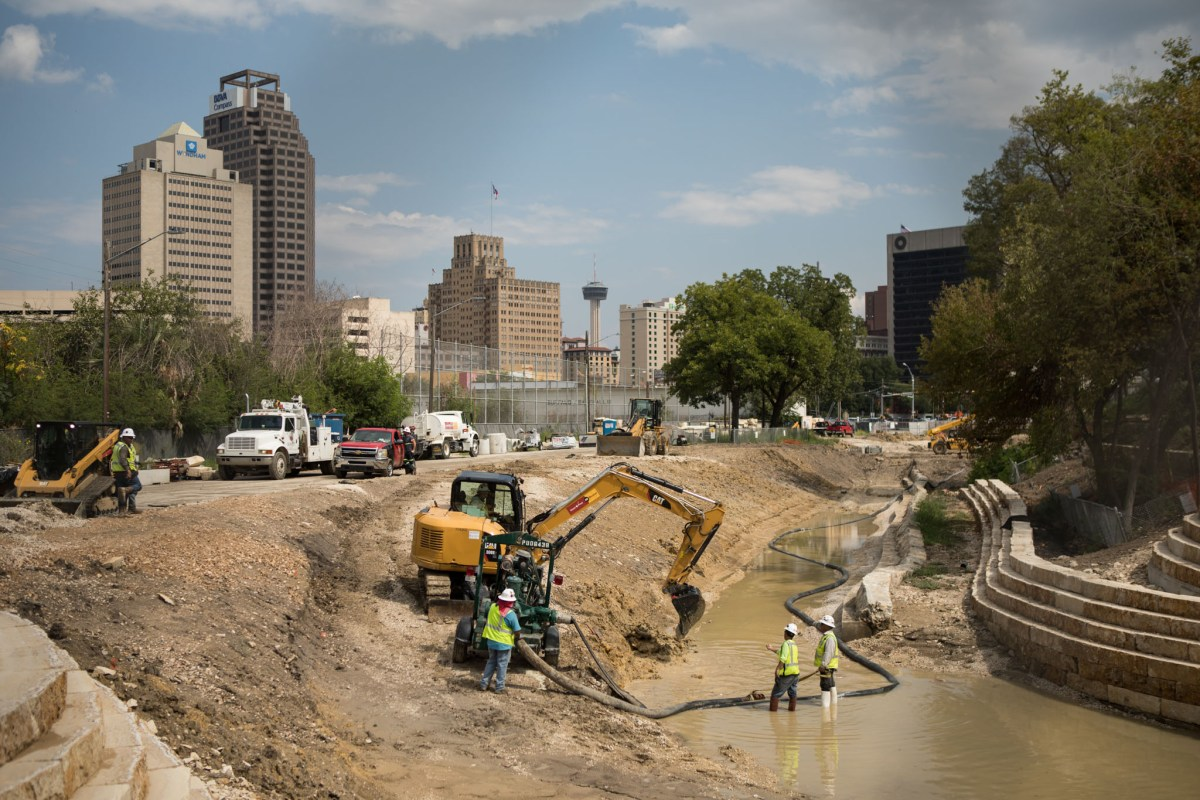 San Pedro Creek is under construction.
