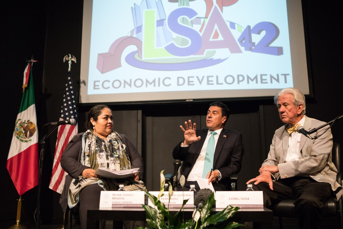 (From left) Consul General of Mexico in San Antonio Reyna Torres Mendivil, Ambassador of Mexico to U.S. Geronimo Gutierrez, and Sosa, Bromley, Aguilar & Assoc. Founder Lionel Sosa speak at a panel discussion discussing border issues with Leadership San Antonio Class42 at the Instituto Cultural de Mexico.