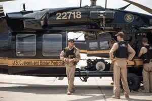 US Customs and Border Protection Air and Marine Operations prepare to dispatch a Black Hawk helicoptor at Port San Antonio to aid in the rescue efforts of Harvey.