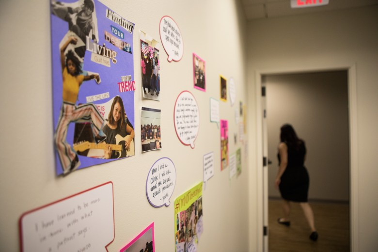 Collages made by survivors line the walls of the new location of the Rape Crisis Center.