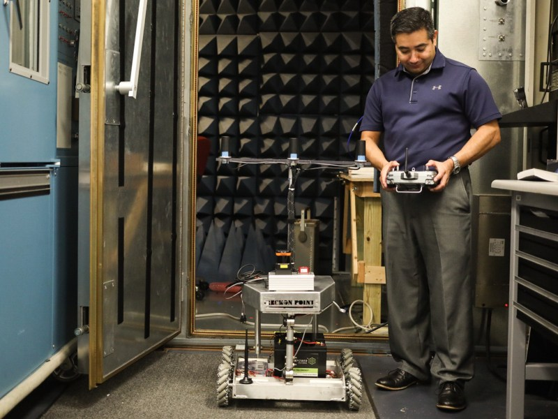 Reckon Point Founder Gabe Garza controls the robot that can survey interior spaces to create detailed maps.