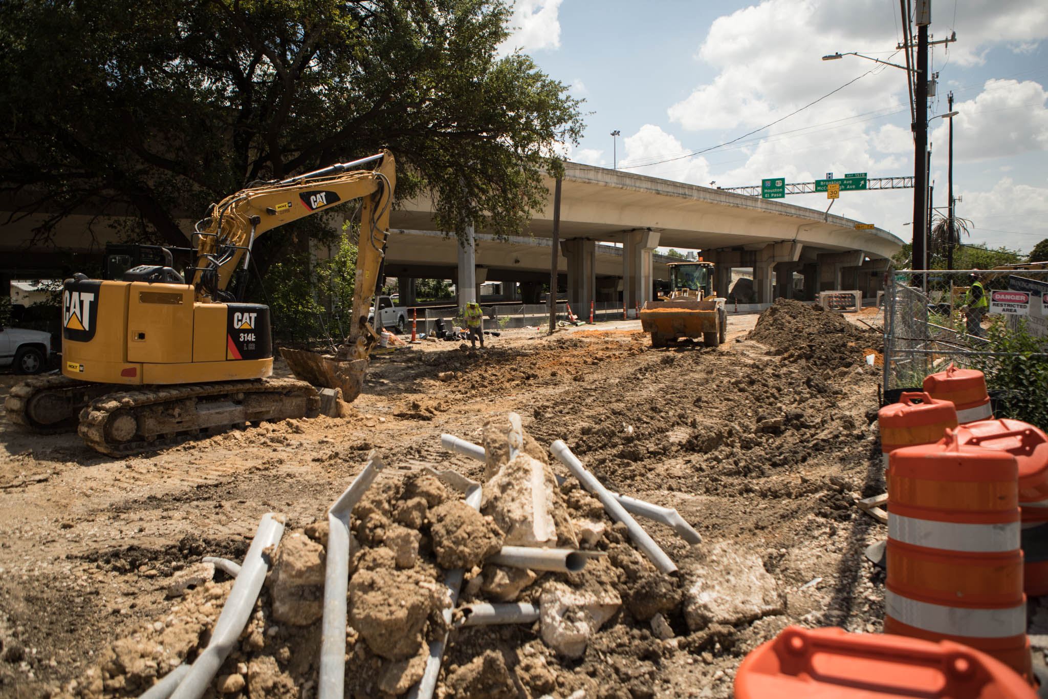 Construction to improve drainage is taking place near the intersection of McCullough Street and I-35.