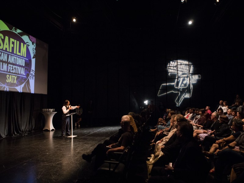 San Antonio Film Festival Founder Adam Rocha introduces the awards ceremony at the San Antonio Film Festival.