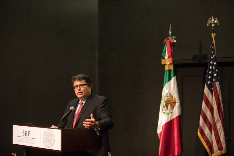 Secretary of State Rolando Pablos (R-Texas) speaks at the San Antonio-Mexico Friendship Council reception in honor of Ambassador Reyna Torres Mendivil at the Mexican Cultural Institute.