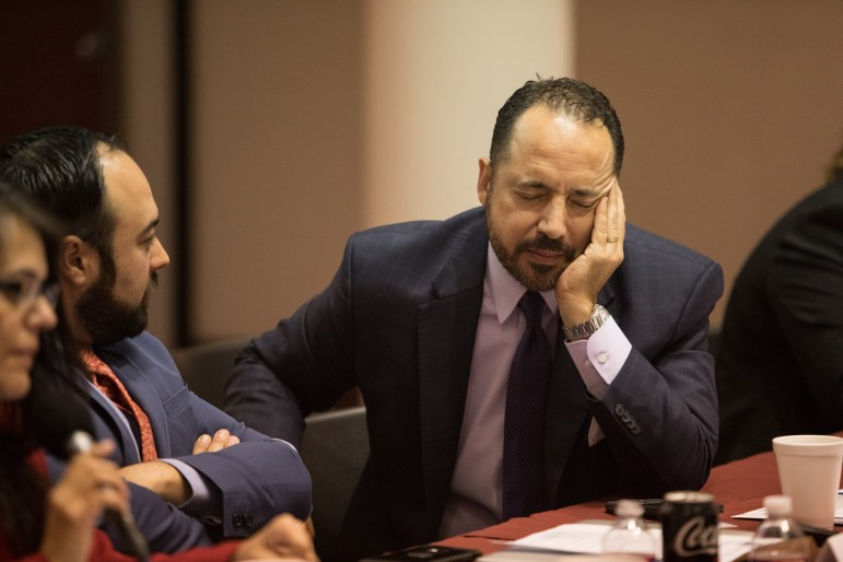 State Sen. José Menéndez (D26) makes a frustrated expression during the Texas SB4 Round Table discussion at UNAM Campus San Antonio.