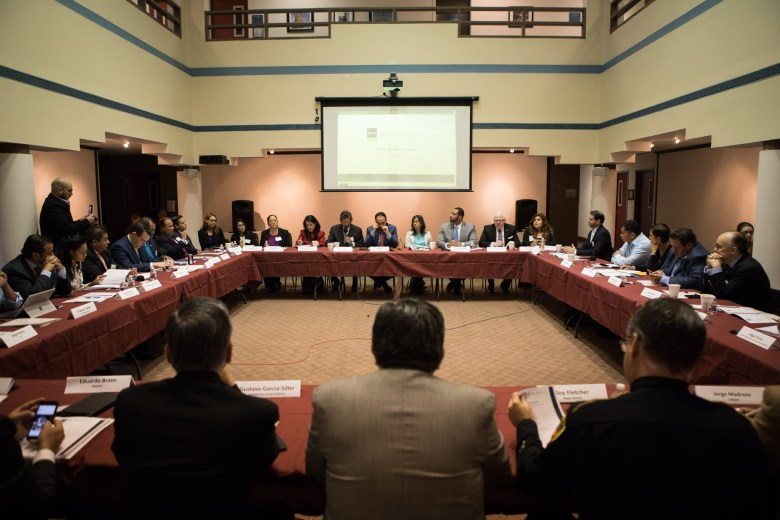 A large group gathers at the Texas SB4 Round Table discussion at UNAM Campus San Antonio.