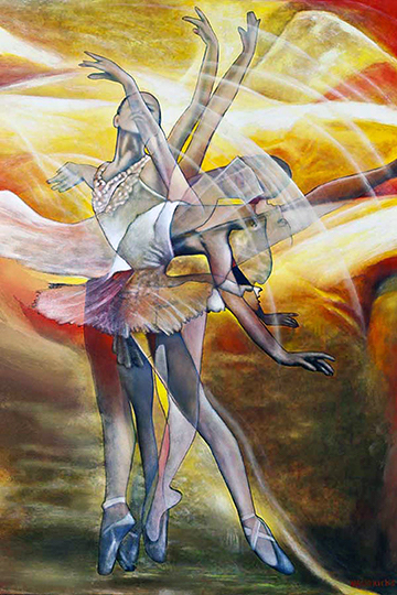 """""""Dancers in Motions"""" by James Wyatt Hendricks. Oil on canvas, collection of UTSA."""