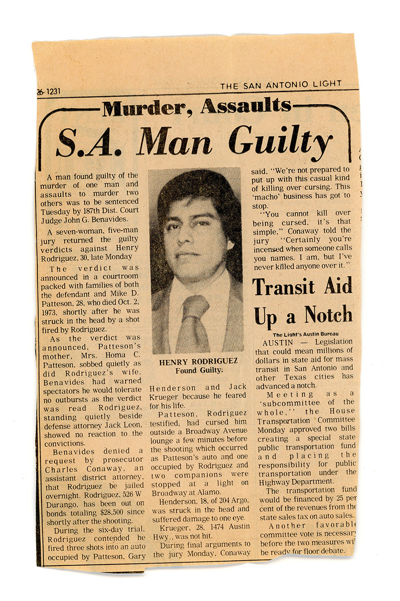 A clipping from the San Antonio Light announcing the verdict on Henry Rodriguez.